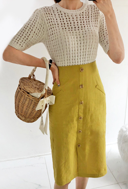 Straight Cut Button-Front Skirt