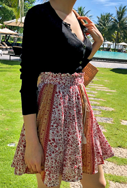Printed Drawstring Waist Skirt