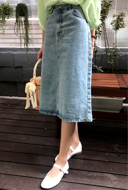 4-Pocket Midi Denim Skirt
