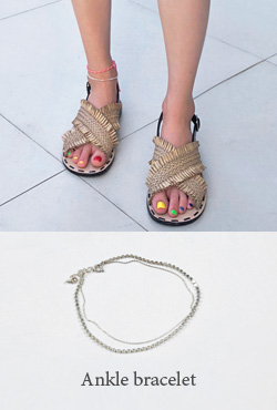 Layered Silver Chain Anklet