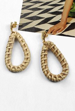 Woven Hoop Stud Earrings