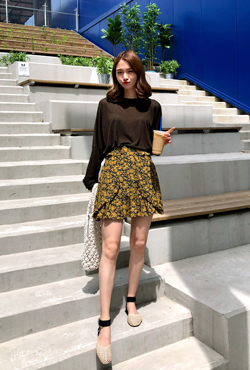 Floral Print Flap Accent Mini Skirt