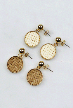 Encased Rattan Drop Earrings