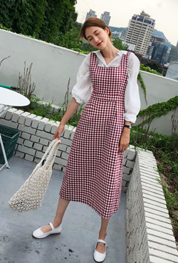 Square Neck Gingham Check Dress