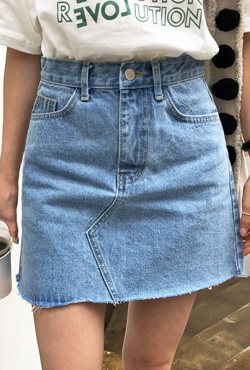 Raw Hem A-Line Denim Skirt