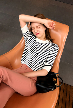 Rib Trim Striped Knit Top