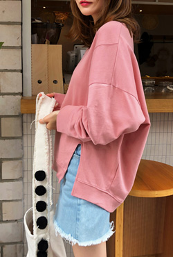 Side Slit Round Neck Sweatshirt
