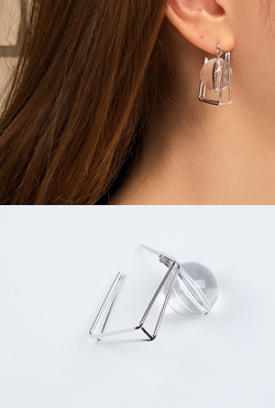 Ball Accent Square Frame Earrings