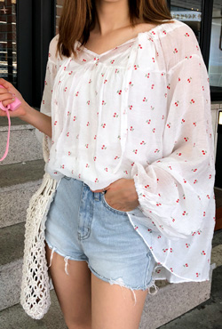 Cherry Print Loose Fit Blouse