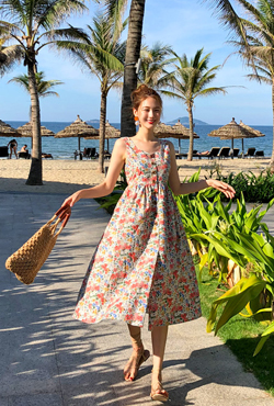 V-Neck Flared Floral Dress