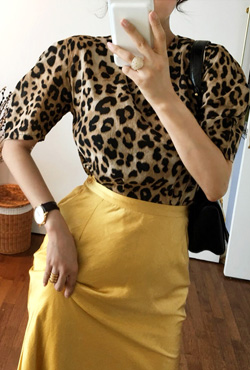 Leopard Print Puff Sleeve Blouse