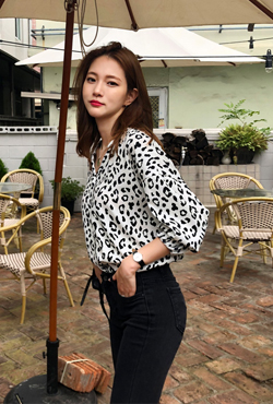 Leopard Print Split Neck Blouse
