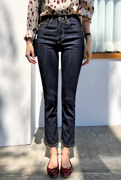 Contrast Stitch High-Rise Jeans