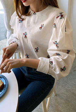 Embroidered Button-Back Blouse