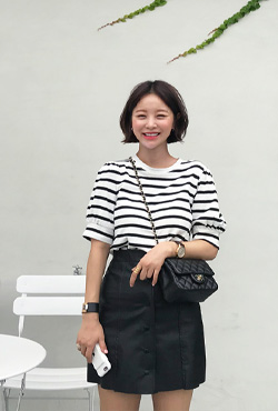 Puff Sleeve Round Neck Stripe T-Shirt