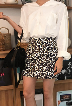 Animal Print H-Line Mini Skirt