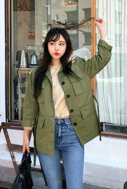 Tie-Waist Button-Up Utility Jacket