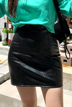 Faux Leather Seamed Front Skirt