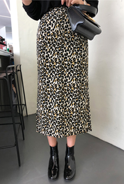 Animal Print Straight Cut Long Skirt