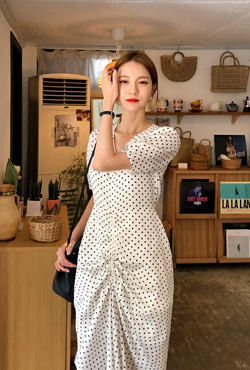 Gathered Front Dotted Long Dress