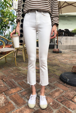 Raw Hem Cropped White Jeans
