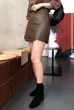Faux Wrap Pleather Skirt