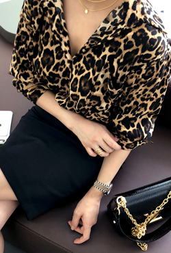 Leopard Print Chest Pocket Blouse