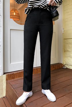 Black Straight Cut Slacks