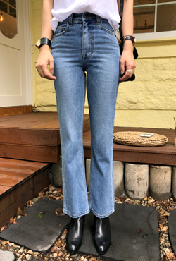 High Waist Whiskered Jeans