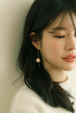 [V,Collect] Cotton Pearl Threader Earrings