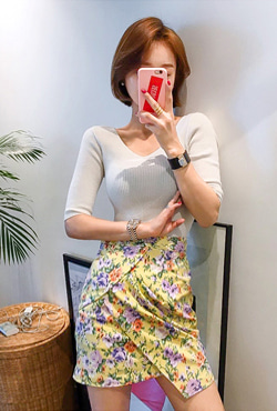 Faux Wrap Floral Mid-Thigh Skirt