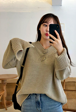 V-Neck Loose Fit Sweater