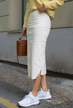 Long Straight Cut Cotton Skirt