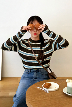 Ribbed Stripe Knit Top