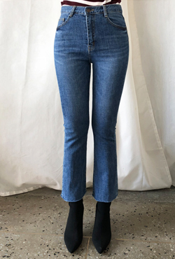 Whiskered Semi-Bootcut Jeans