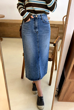 Long Straight-Cut Denim Skirt
