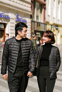 [PREMIUM] Collarless Padded Down Jacket