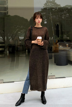 Semi-Sheer Long Knit Dress