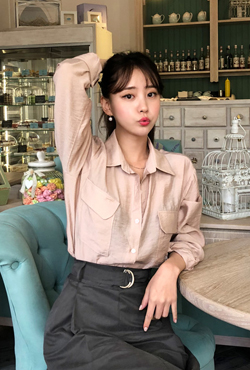 Flap Pocket Button-Up Blouse