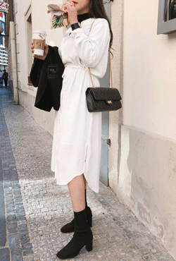 Drawstring Waist Long Shirt Dress