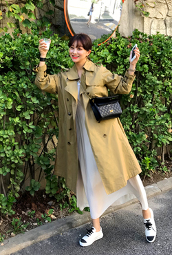 Lined Midi Trench Coat