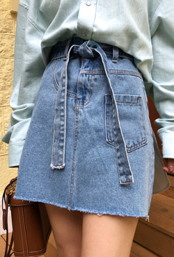 Self-Tie Belt Denim Skirt