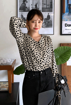 Leaf Print Button-Up Blouse