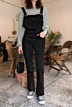 Whiskered Raw Hem Overalls