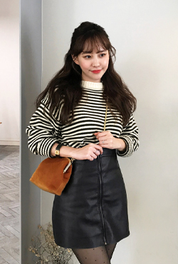 Shirred Cuff Stripe Sweater