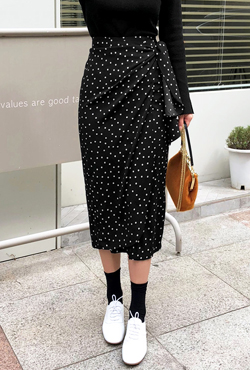 Polka Dot Side Tie Midaxi Skirt