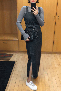 Tie-Waist Pinafore Denim Dress