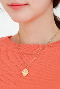 [V,Collect] Textured Disc Pendant Layered Necklace