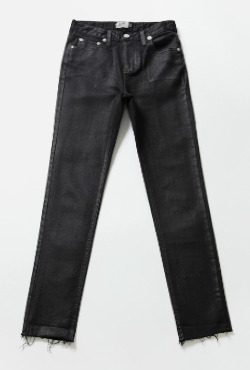 Slim Fit High Waist Coated Jeans