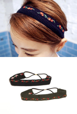 Embroidered Knit Headband